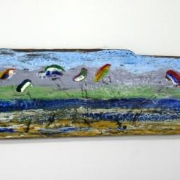 2010, encastic on driftwood 112*14